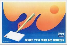 """LBR22B - CARTE POSTALE DE CHANGEMENT D'ADRESSE """"ECRIRE C'EST FAIRE DES HEUREUX"""" - Entiers Postaux"""