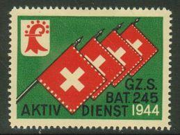 Suisse /Schweiz/Switzerland // Vignette Militaire // Grenztruppen, Gz. S. Bat. 245  1944   No.168 - Soldaten Briefmarken