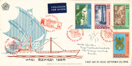 Indonesia Registered FDC 23-9-1966 Maritime Day Hari Bahari 1966 With Cachet - Indonesia