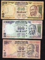INDE -3 Billets ( 50, 100 Et 500 Rupees De 2000/02  Jaune)     Cat World N° 83   -  Circulés - Inde
