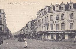 Liège - Hôtel Du Midi Et Rue Des Guillemins (top Animation, Tramway, 1910, Collection Artistique) - Liege