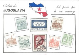 Greeting From Yugoslavia.map,stamps - Greetings From...