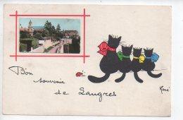 REF 257  : CPA 52 LANGRES Bon Souvenir De... Chat Par René - Langres