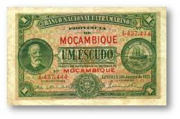 MOZAMBIQUE - 1 ESCUDO - 01.01.1921 - P 66.b - F. De OLIVEIRA CHAMIÇO - PORTUGAL - Mozambique