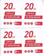 Moldova   Moldavie  Moldau ,  Prepaid Phonecards -  Unlte ,Tipe 2,  4 Ex. X 20 Lei , Paper , Used - Moldova