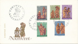 Luxembourg FDC Christmas 6-12-1971 Complete Set Of 5 On Cover With Cachet - Christmas