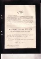 BEVEREN WAAS Marie CARLEER épouse Van Der BELEN 71 Ans En 1913 Doodsbrief Famille De SCHOUTHEETE De TERVARENT - Obituary Notices