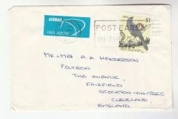 1986 Air Mail Merivale NEW ZEALAND COVER $1 Stamps KOKAKO BIRD To GB Airmail Label Birds - New Zealand