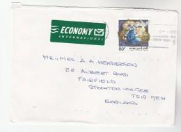 1999 NEW ZEALAND COVER 80c Stamps CHRISTMAS DONKEY To GB  Economy International Label - New Zealand