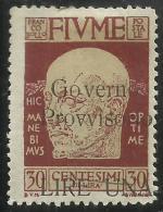 FIUME 1921 GOVERNO PROVVISORIO SOPRASTAMPATO SURCHARGE LIRE 1 LIRA SU CENT. 30 C. MH - 8. Occupazione 1a Guerra