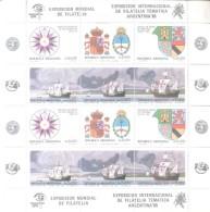 EXPOSICION MUNDIAL DE FILATELIA ARGENTINA 85 ESUCO DE ARMAS DE CRISTOBAL COLON ESPAÑA 1984 - Hojas Bloque