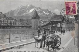 LUZERN → Mann Mit Hundegespann Vor Der Kapallbrücke 1931 - LU Lucerne
