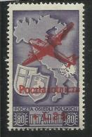 CORPO POLACCO POLISH BODY 1946 AEREO SOPRASTAMPATO AIRPLAIN OVERPRINTED LIRE 25 ON 80 MNH - 1946-47 Corpo Polacco