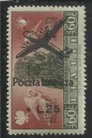 CORPO POLACCO POLISH BODY 1946 AEREO SOPRASTAMPATO AIRPLAIN OVERPRINTED LIRE 25 ON 60 MNH - 1946-47 Corpo Polacco