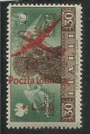 CORPO POLACCO POLISH BODY 1946 AEREO SOPRASTAMPATO AIRPLAIN OVERPRINTED LIRE 25 ON 30 MNH - 1946-47 Corpo Polacco