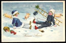 * BONNE ANNEE - HAPPY NEW YEAR * Illustrateur  ? Fille - Girl - Champignon - Cochon - Chimney Sweep - Ramoneur - Nouvel An