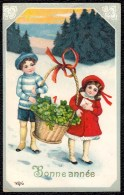 * BONNE ANNEE - HAPPY NEW YEAR * Illustrateur  ? Illustrateur ? - Fille - Garcon - Trèfle à Quatre Feuilles - Klavertje - Nouvel An