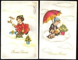 2 X * BONNE ANNEE - HAPPY NEW YEAR * Illustrateur  ? Doré - Fille Oiseau Parapluie Chien - Nouvel An