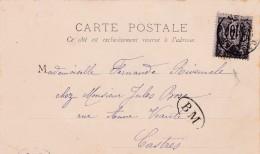Circa 1898 - BOITE MOBILE - CP Avec Oblitération Castres - Vue Paris Porte Saint Martin - 10 Centimes  Type Sage - 1898-1900 Sage (Type III)