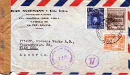 BOLIVIEN 1950 - 3 Fach Frankierung Auf FP-Zensur-Brief Gel.v.La Paz > Wien XXI - Bolivien