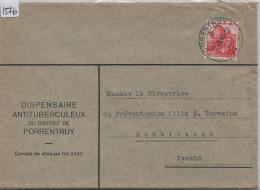 1940 San Salvatore 215 - Stempel: Porrentruy 1 Via Banco - Dispensaire Antituberculeux - Brieven En Documenten