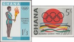 Ghana 1964 Michel 193B Et 194B. Jeux Olympiques De Tokyo. Flamme Et Anneaux - Summer 1964: Tokyo