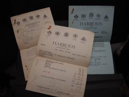 GRANDE BRETAGNE - Lot De 3 Documents Dont Facture De La CIE Harrods En 1930 - A Voir - L 1087 - United Kingdom