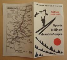 Horaire - Chemins De Fer De L'Est  - Saison D'Hiver 1927-1928 - Sports D'Hiver Dans Les Vosges - Europe