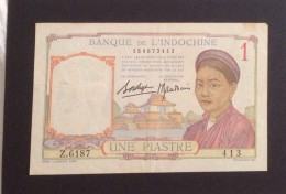 Indochine Indochina Viet Nam Vietnam Laos Cambodia 1 Piastre EF Banknote / 02 Images - Indochine