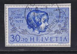 Schweiz Pro Juventute 1937 Blockausschnitt 1937-12-31 Zürich Kronenstempel Zu#PJ84I - Pro Juventute