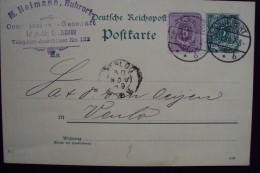 Duitsland D.Reich Postkarte 1889 5 Pf Venlo Ruhrort    7 - Briefe U. Dokumente