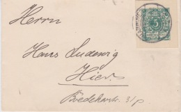 Germany-1903 5 Pf Green Postal Stationery Cut Out On Hannover Letter Cover To Hier - Briefe U. Dokumente