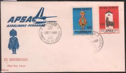 O) 1968 PERU, ANTARQUI -CHASQUI -DELIVERY COURIER -LEGEND- ALPACA-ARTIODACTILO-VICUGNA PACOS, FDC XF - Peru