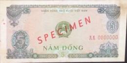 Vietnam Viet Nam 5 Dong VF SPECIMEN Banknote 1976 - P#81 - RARE / 02 Images - Indochine