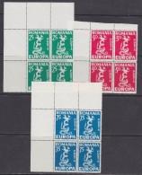 Anti-Europa 1958 Romania 3v Bl. Of 4 (corner)  ** Mnh (31585B) - Europa-CEPT