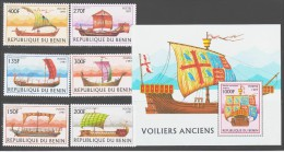 Benin 1997 Mi 971-976 + Block 33(977) Trade Sailers / Handels-Segelschiffe **/MNH - Bateaux