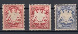 Bayern Lot 3 Marken 10 Pf (2) Und 20 Pf. Staatswappen 1888 - * Ungebraucht - Bayern