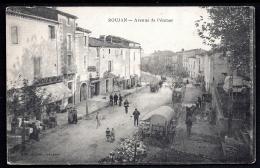 CPA ANCIENNE- FRANCE- ROUJAN (34)- AVENUE DE PEZENAS - TRES BELLE ANIMATION GROS PLAN- DÉBALLAGE AMBULANT- ATTELAGES - Other Municipalities