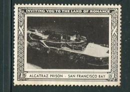 "Alcatraz Prison San Francisco Bay Reklamemarke Poster Stamp Vignette No Gum 2 X 1 1/2"" - Cinderellas"