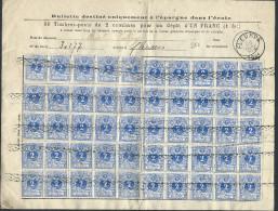 Bordereau De Caisse D´épargne Affr N°27 X 50 Roulette + Càd FLEURUS/1884 - 1869-1883 Leopold II.