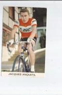JACQUES ANQUETIL (FRANCE CYCLISME) 5 TOURS DE FRANCE CARTE AVEC AUTOGRAPHE - Autographs