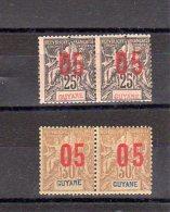 Guyanne_ 2 Paires  Surcharges Chiffres Espacés Tenant à Normal N°69/70  ( 1912 )