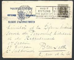 L à Entête PAQUEBOTS DE L'ETAT BELGE/OSTENDE DOUVRES Affr N°255 D'OSTENDE/1929 Pour Bruxelles - 1922-1927 Houyoux