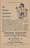 Advertising Muenchner Kalbshaxen At Mader's German Restaurant Milwaukee Wisconsin - Restaurants