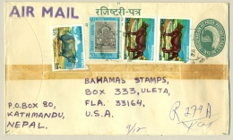 Nepal - 1974 - 4 Stamps On 40 Paisa Preprinted Cover From Kathmandu To Florida / USA - Nepal
