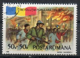ROMANIA 1990 - Rivoluzione Del 1989. Palazzo In Fiamme, Bucarest.  50b. + 50b. Oblit. Scott. B449-SP299 - 1948-.... Republics