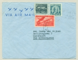 Cuba - 1956 - 3 Stamps On Airmail-cover To The Netherlands - Covers & Documents