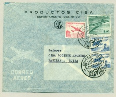 Chili - 1958 - 4 Airmail Stamps Cover From Santiago To Basilea (Basel) / Suiza (Schweiz) - See Stamp Quality - Chili