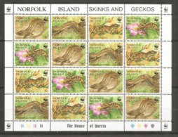 Lézards & Geckos WWF, De L´île NORFOLK, Feuille De 16 Timbres Neufs ** Côte 20,00 € - W.W.F.