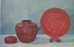 Lacquer Canister And Lacquer Plate From Peking China - Porcelaine